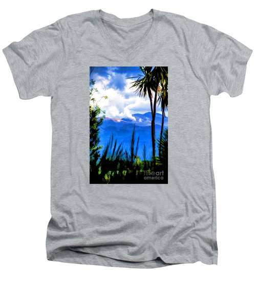 Men's V-Neck T-Shirt featuring the photograph Blowing Steam by Rick Bragan