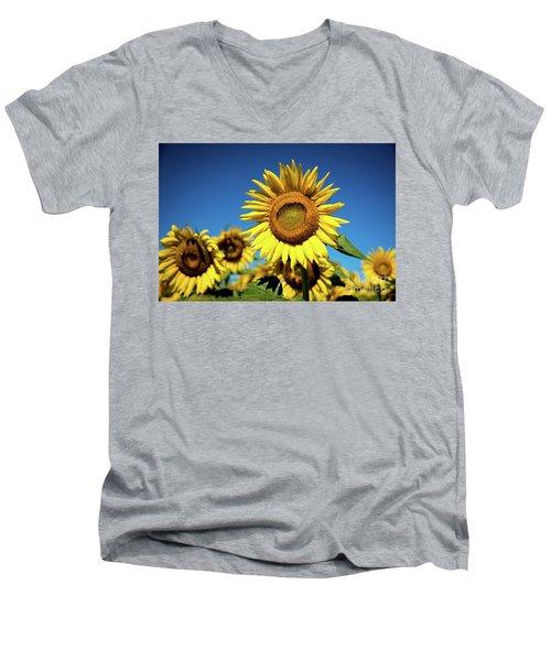 Blue And Gold Men's V-Neck T-Shirt