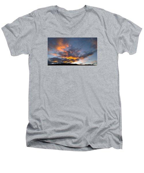 Blue And Orange Sunset Over Blue Ridge Mountains Men's V-Neck T-Shirt by Kelly Hazel