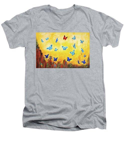 Blue And Red Butterflies Men's V-Neck T-Shirt
