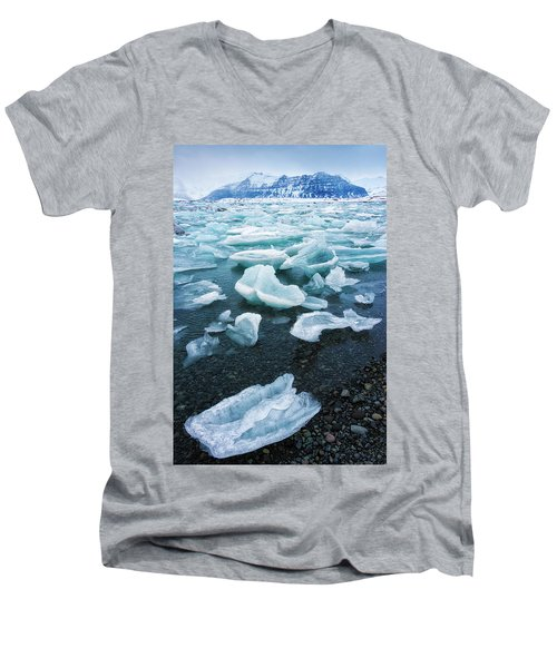 Men's V-Neck T-Shirt featuring the photograph Blue And Turquoise Ice Jokulsarlon Glacier Lagoon Iceland by Matthias Hauser