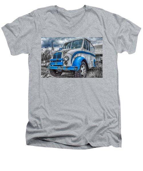 Blue And White Divco Men's V-Neck T-Shirt by Guy Whiteley