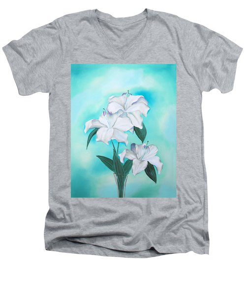 Men's V-Neck T-Shirt featuring the mixed media Blue And White by Elizabeth Lock
