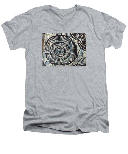 Blue And White Men's V-Neck T-Shirt