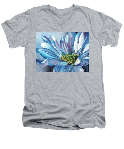 Blue Men's V-Neck T-Shirt by Angela Armano