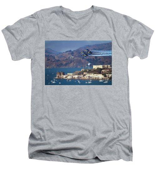 Blue Angels Over Alcatraz Men's V-Neck T-Shirt