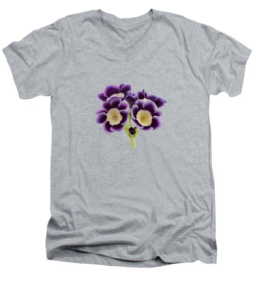 Men's V-Neck T-Shirt featuring the photograph Blue Auricula On A Transparent Background by Paul Gulliver