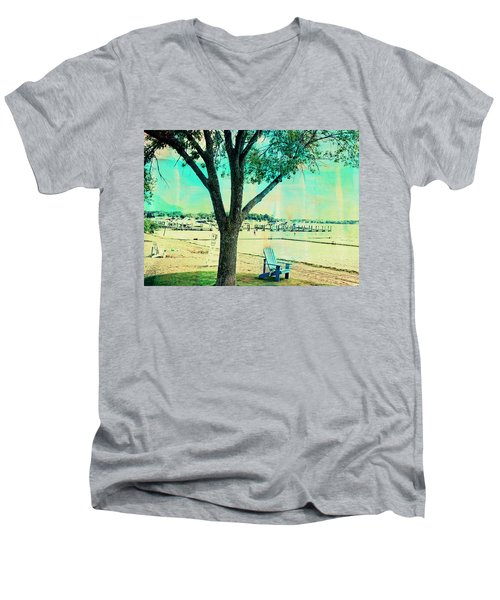 Men's V-Neck T-Shirt featuring the photograph Blue Beach Chair by Susan Stone