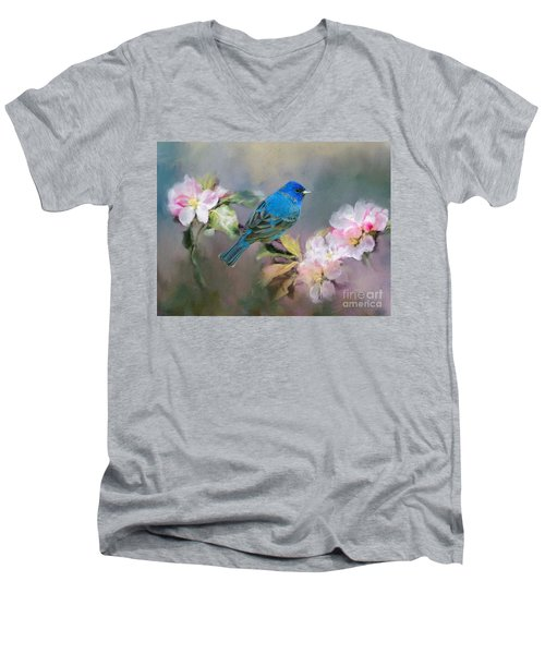 Blue Beauty In The Flowers Men's V-Neck T-Shirt