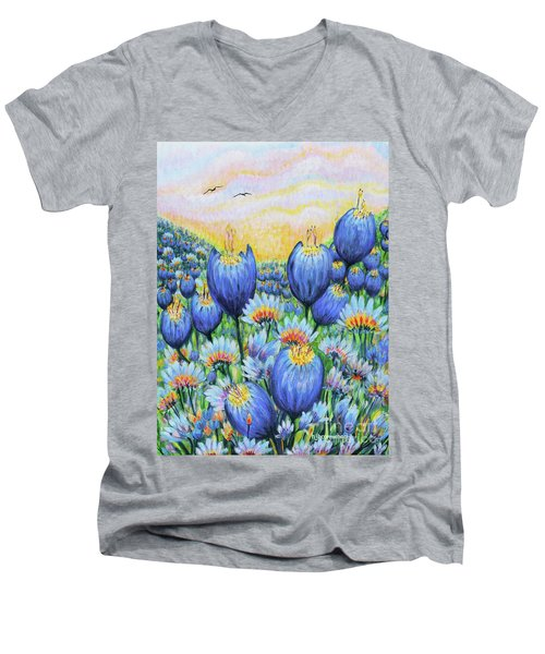Blue Belles Men's V-Neck T-Shirt by Holly Carmichael