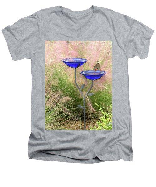Blue Bird Bath Men's V-Neck T-Shirt by Rosalie Scanlon