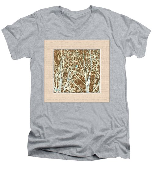 Blue Bird In Winter Tree Men's V-Neck T-Shirt by Felipe Adan Lerma