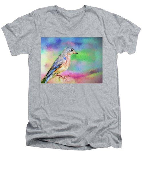Blue Bird On Color Men's V-Neck T-Shirt