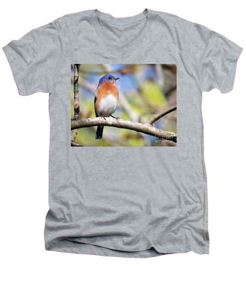 Men's V-Neck T-Shirt featuring the photograph Blue Bird by Ricky L Jones