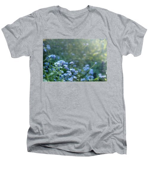 Blue Blooms Men's V-Neck T-Shirt