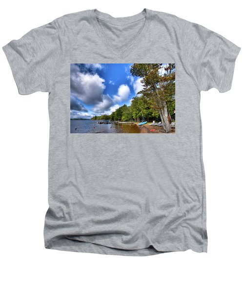 Men's V-Neck T-Shirt featuring the photograph Blue Boat On The Shore by David Patterson