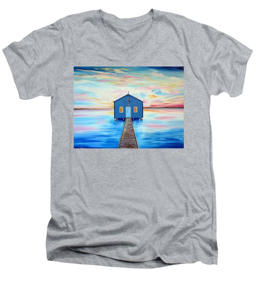 Blue Boat Shed By The Swan River Perth Men's V-Neck T-Shirt