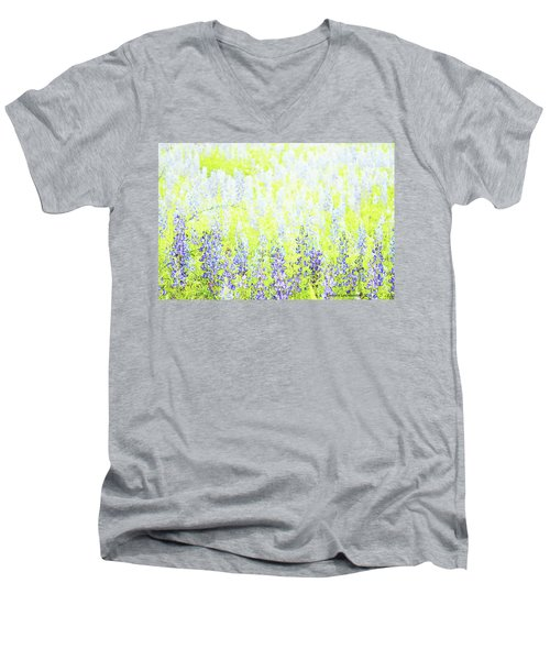 Blue Bonnet Impressions II Men's V-Neck T-Shirt by Carolina Liechtenstein