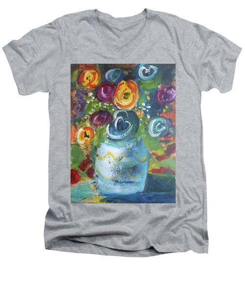 Blue Bouquet Men's V-Neck T-Shirt