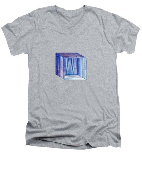 Blue Box Sitting Men's V-Neck T-Shirt by YoPedro
