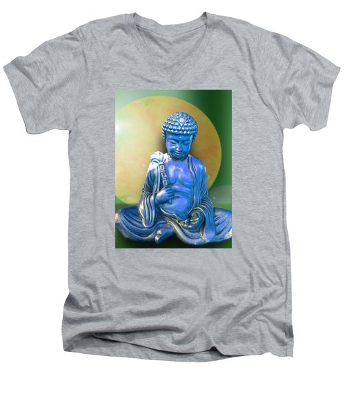 Blue Buddha Figurine Men's V-Neck T-Shirt by Ginny Schmidt