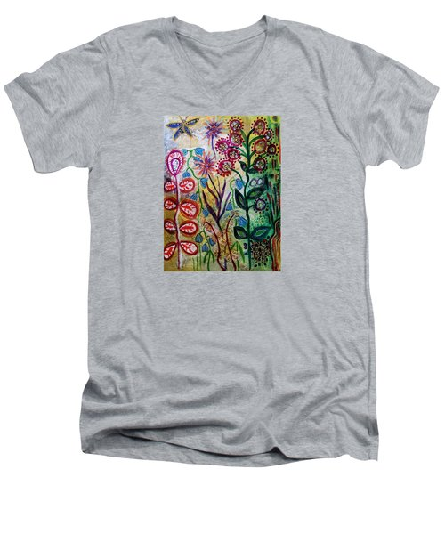 Men's V-Neck T-Shirt featuring the mixed media Blue Bug In The Magic Garden by Mimulux patricia no No