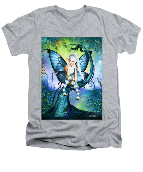 Blue Butterfly Fairy In A Tree Men's V-Neck T-Shirt