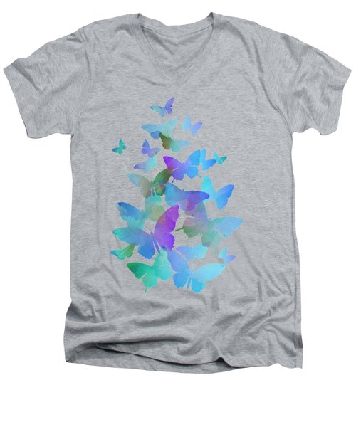Blue Butterfly Flutter Men's V-Neck T-Shirt