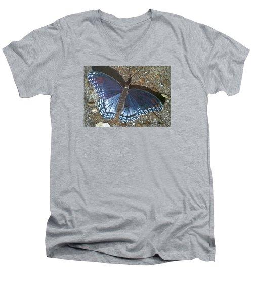 Blue Butterfly - Savannah Charaxes Men's V-Neck T-Shirt by Anita Putman