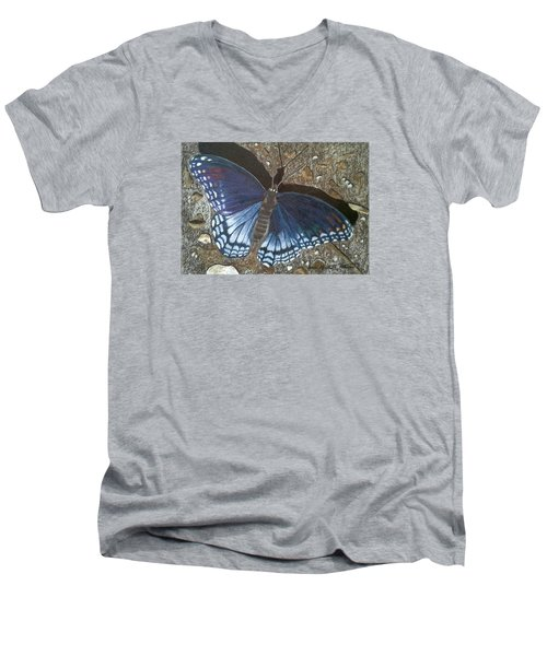 Blue Butterfly - Savannah Charaxes Men's V-Neck T-Shirt