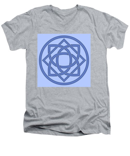 Men's V-Neck T-Shirt featuring the digital art Blue Celtic Knot by Jane McIlroy