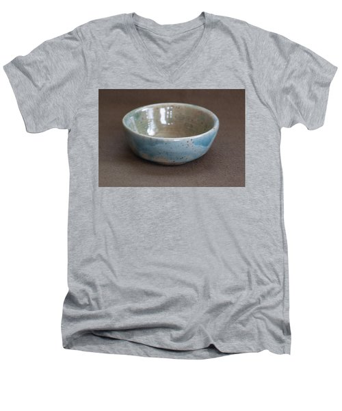 Blue Ceramic Drippy Bowl Men's V-Neck T-Shirt by Suzanne Gaff