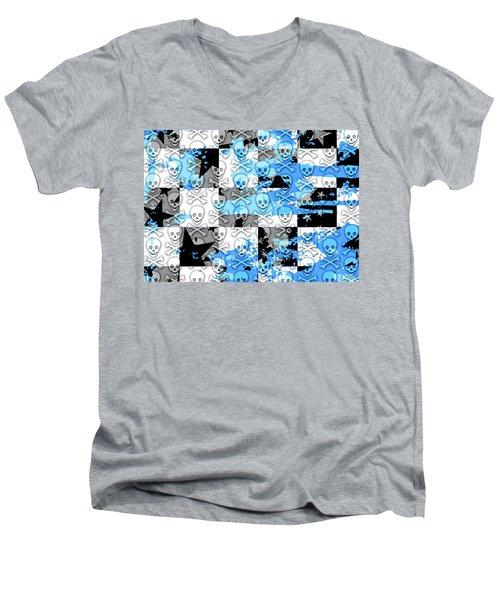 Blue Checker Skull Splatter Men's V-Neck T-Shirt by Roseanne Jones