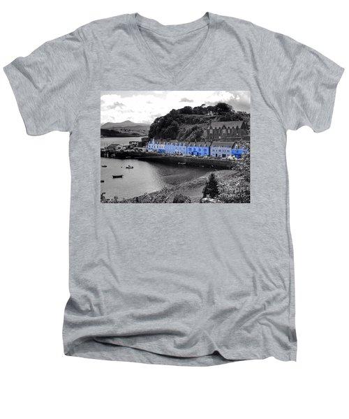 Blue Cottages At Portree Harbour 5 Men's V-Neck T-Shirt