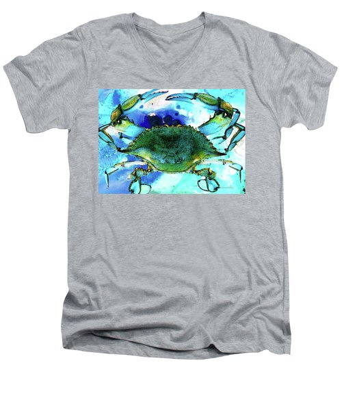 Blue Crab - Abstract Seafood Painting Men's V-Neck T-Shirt