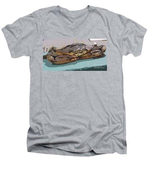 Blue Crab Cartoon Men's V-Neck T-Shirt