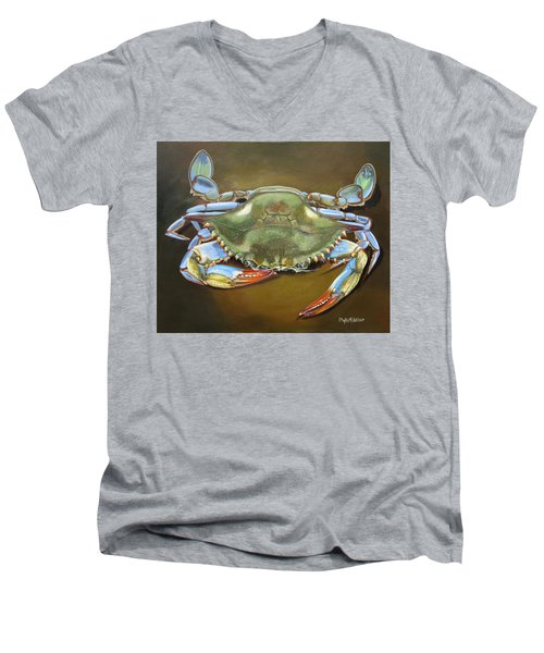 Blue Crab Men's V-Neck T-Shirt by Phyllis Beiser