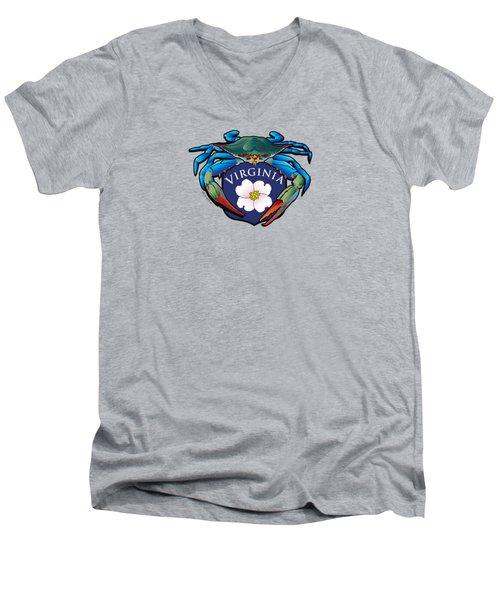 Blue Crab Virginia Dogwood Crest Men's V-Neck T-Shirt