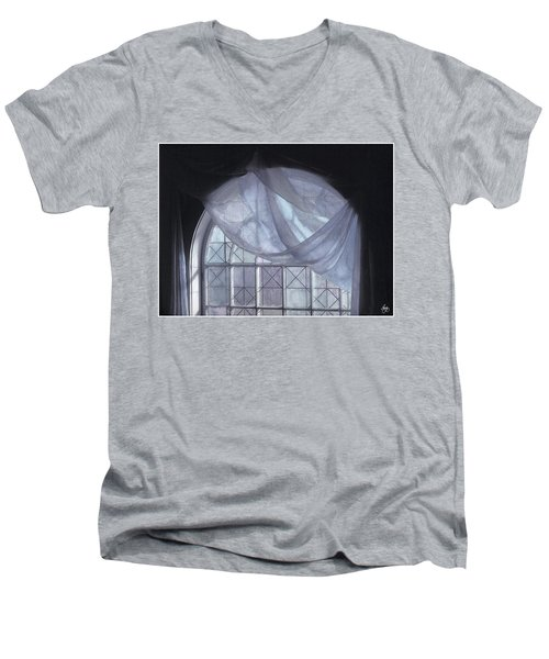 Hand-painted Blue Curtain In An Arch Window Men's V-Neck T-Shirt