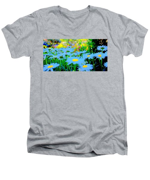 Men's V-Neck T-Shirt featuring the mixed media Blue Daisy by Terence Morrissey