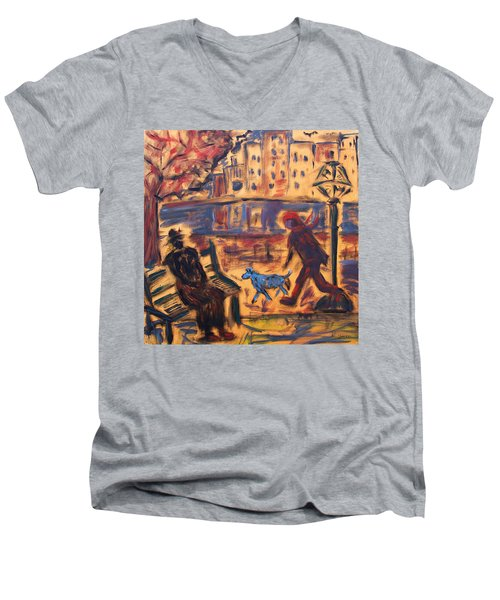 Blue Dog In The City Men's V-Neck T-Shirt