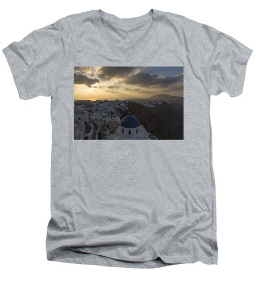 Men's V-Neck T-Shirt featuring the tapestry - textile Blue Dome - Santorini by Kathy Adams Clark