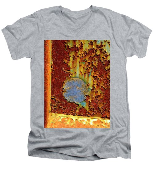 Blue Dot Metal Men's V-Neck T-Shirt by Jerry Sodorff