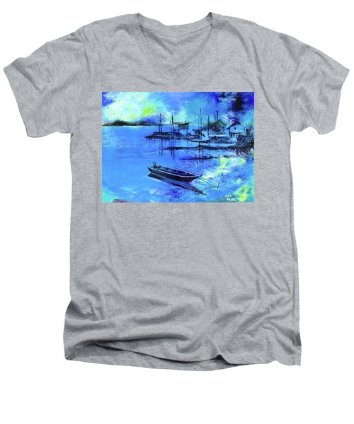 Men's V-Neck T-Shirt featuring the painting Blue Dream 2 by Anil Nene