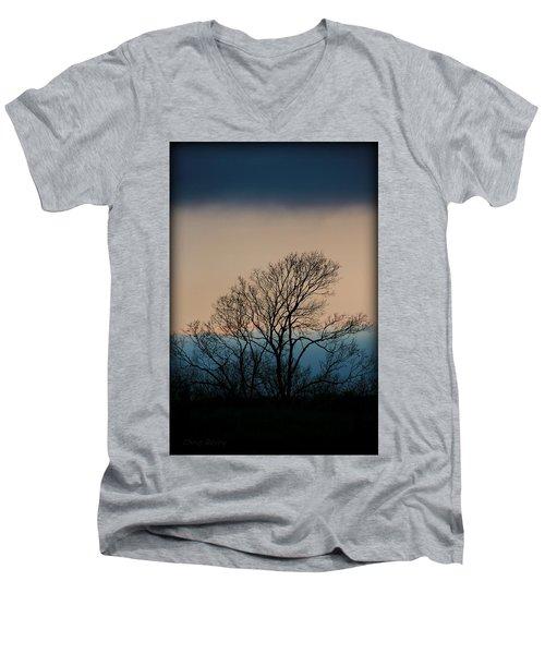 Men's V-Neck T-Shirt featuring the photograph Blue Dusk by Chris Berry