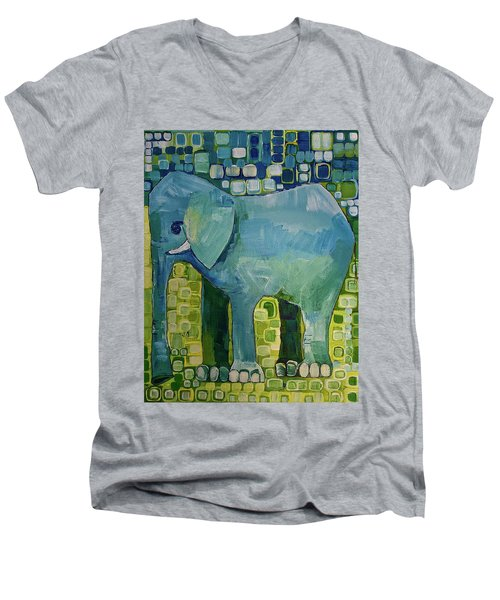 Men's V-Neck T-Shirt featuring the painting Blue Elephant by Donna Howard
