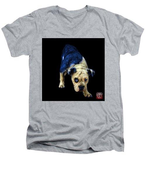 Blue English Bulldog Dog Art - 1368 - Bb Men's V-Neck T-Shirt