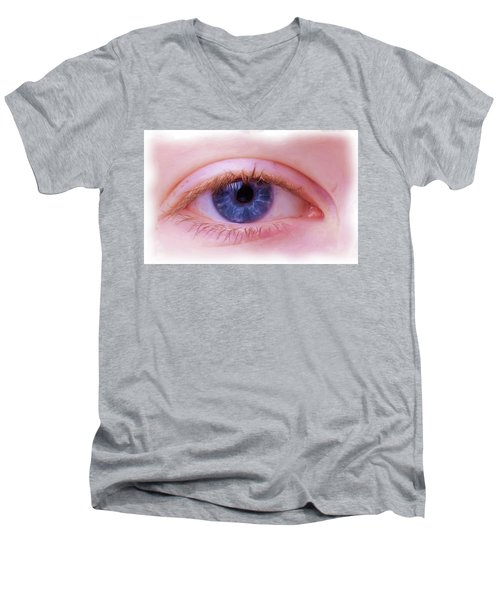 Men's V-Neck T-Shirt featuring the painting Blue Eyes by Harry Warrick