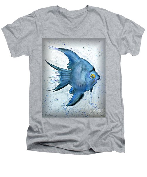Men's V-Neck T-Shirt featuring the photograph Blue Fish by Walt Foegelle