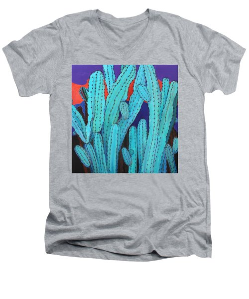 Blue Flame Cactus Acrylic Men's V-Neck T-Shirt